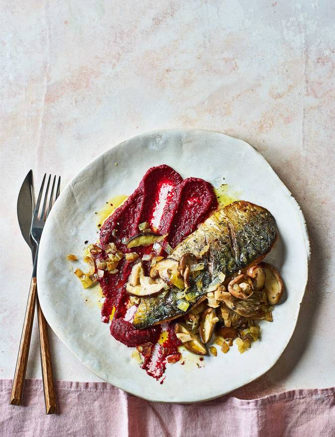 Recipe: Herbed mackerel with beetroot purée and mushrooms