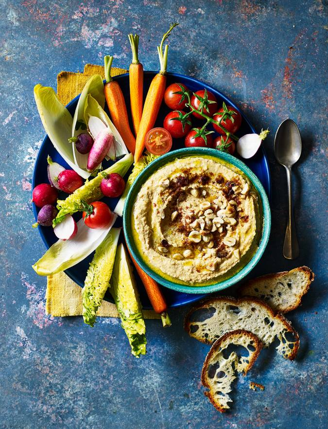 Recipe: Houmous with ras el hanout and hazelnuts