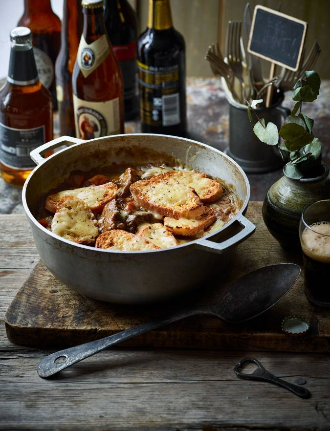 Recipe: Beef and ale stew with cheese and mustard croûtes