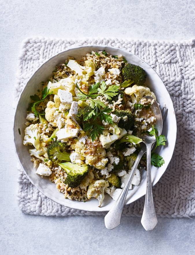 Recipe: Roasted veggie rice with feta