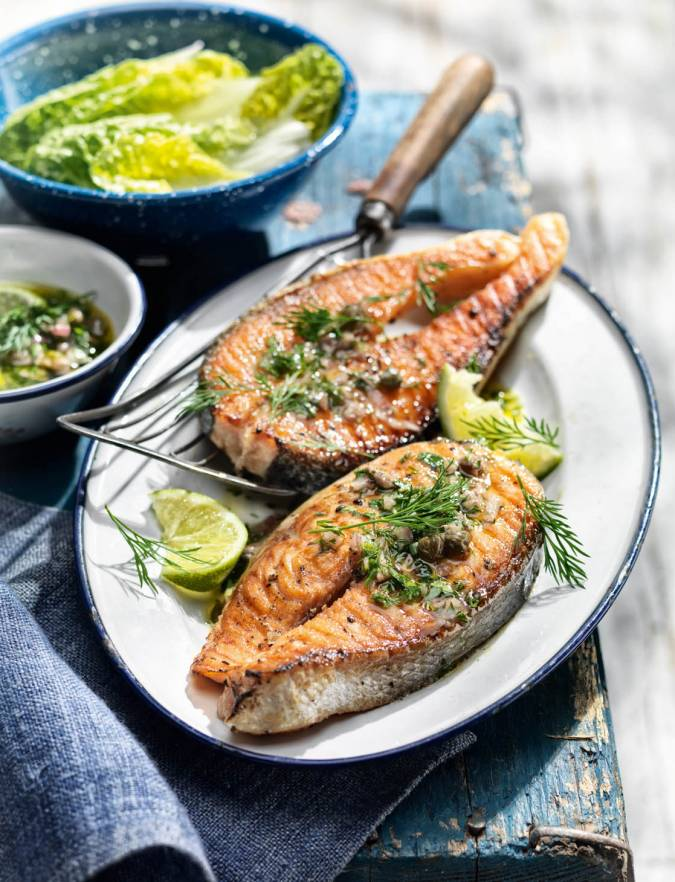 Recipe: Salmon steaks with caper and anchovy salsa