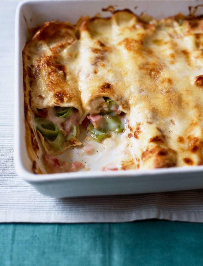 Recipe: Leek and bacon pancake bake