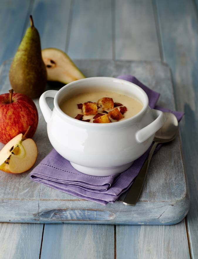 Recipe: Apple, pear and Stilton soup with chorizo and croutons