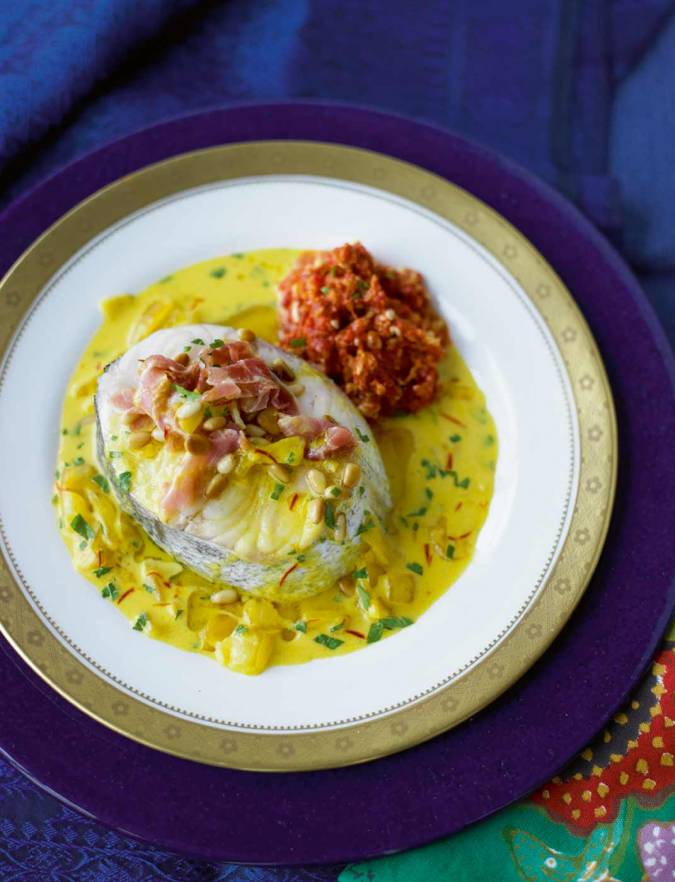 Recipe: Hake with Serrano ham and roasted pepper sauce