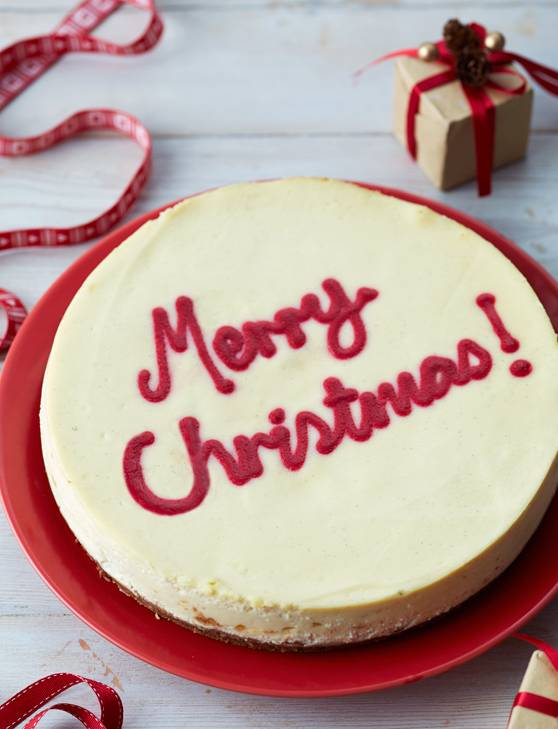 Recipe: Merry Christmas white chocolate and cranberry cheesecake