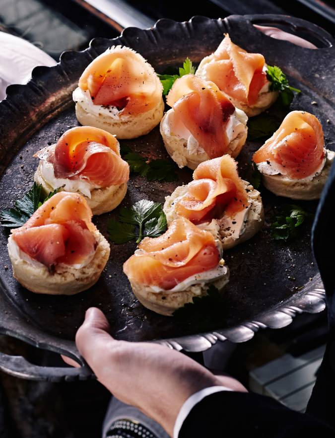 Recipe: Potato and black pepper scones with soured cream and smoked salmon