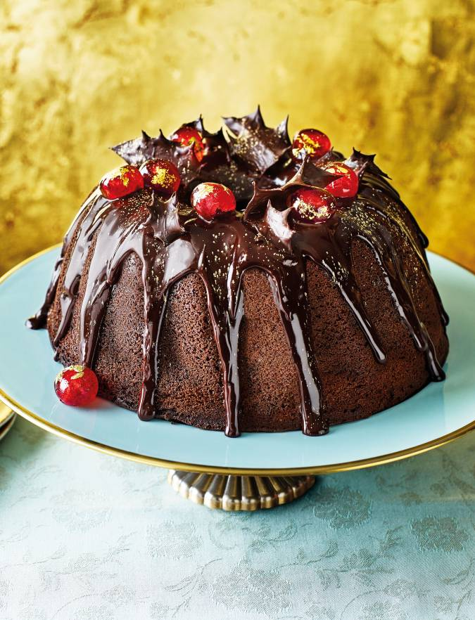 Recipe: Mulled wine bundt cake with chocolate holly and gilded cherries