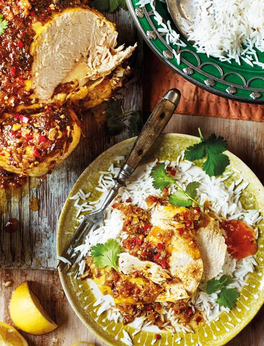Recipe: Pot-roasted curried chicken with garam masala, mango chutney and lemon