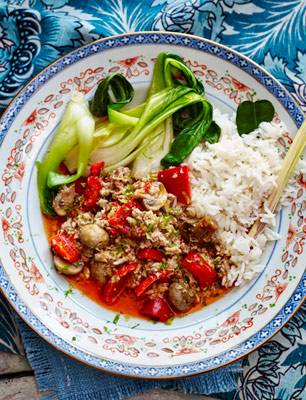 Thai turkey mince with aromatic rice and wilted greens ...