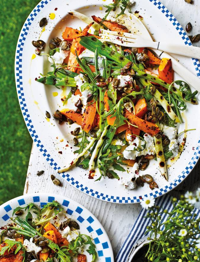 Recipe: Warm squash and goats' cheese salad with pumpkin seed crunch