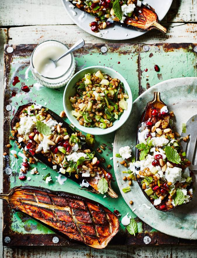 Recipe: Baharat-spiced baked aubergines with feta, fennel and spelt