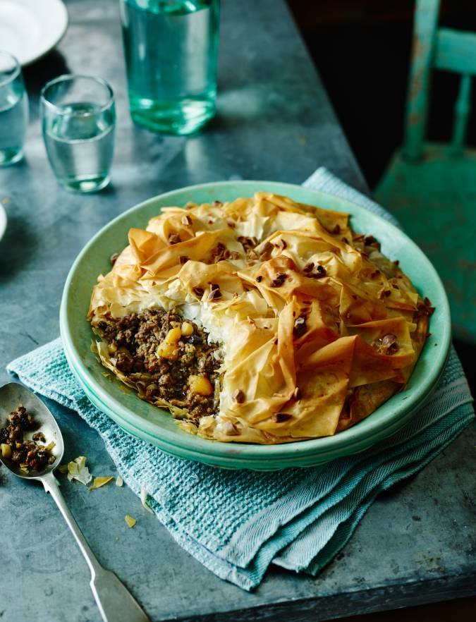 Recipe: Moroccan spiced lamb pie with almonds and apricots