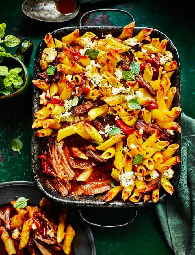 Recipe: Higgledy-piggledy Greek beef pasta bake