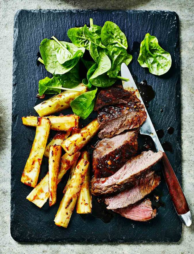 Recipe: Venison steaks with miso parsnip fries