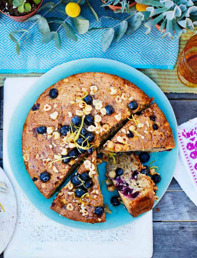 Recipe: Pear, blueberry and hazelnut cake