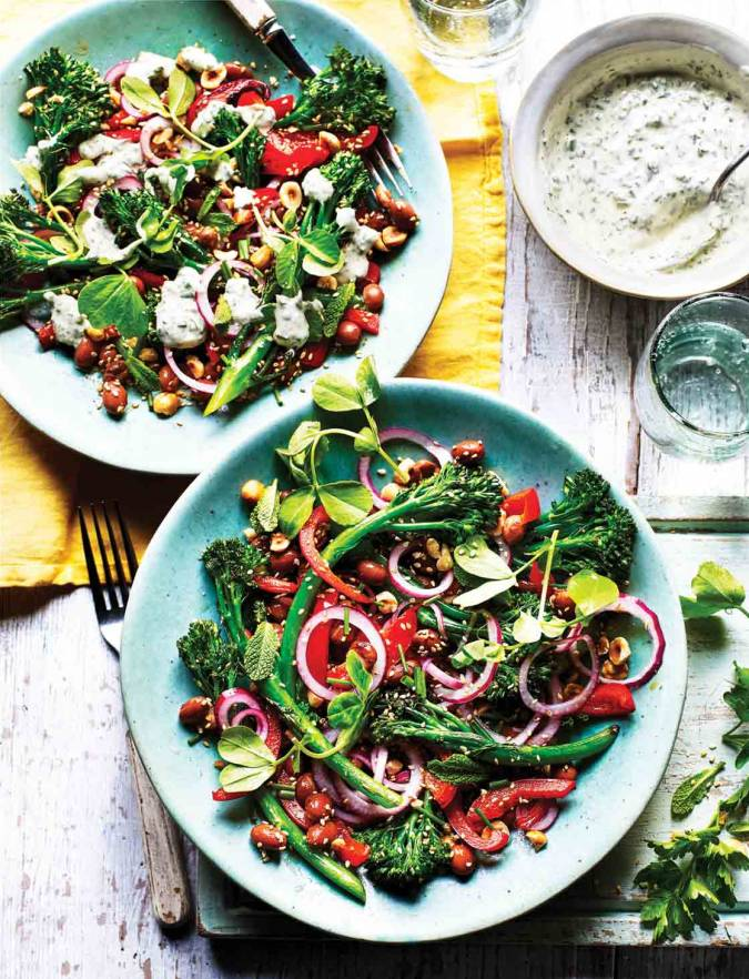 Recipe: Charred broccoli, borlotti bean and hazelnut salad