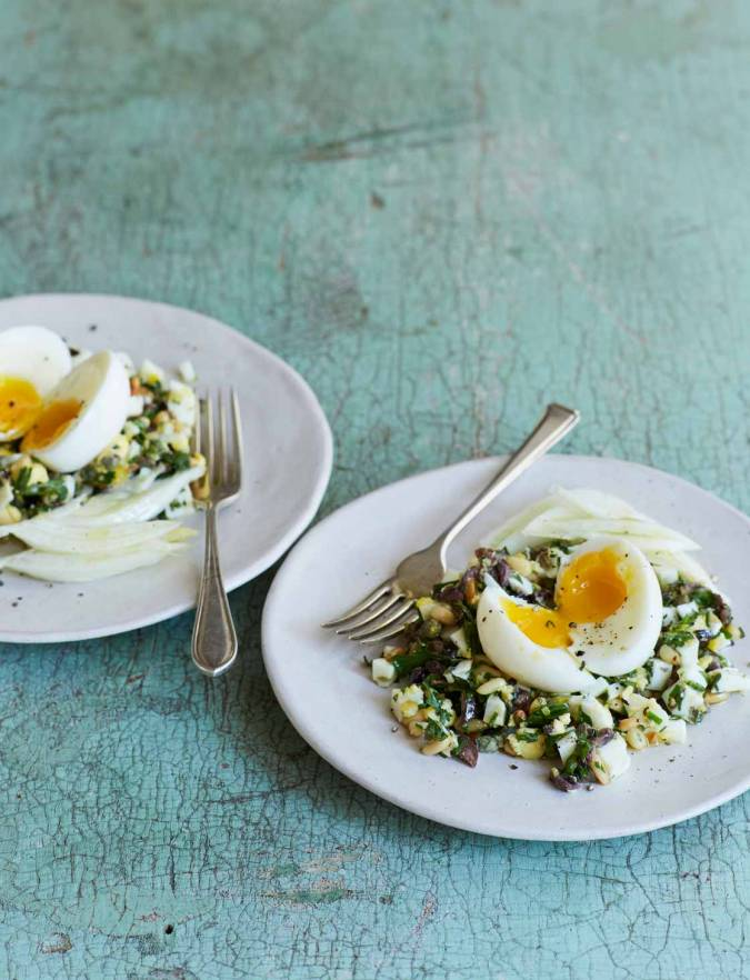 Recipe: Egg salad with anchovies and pine nuts