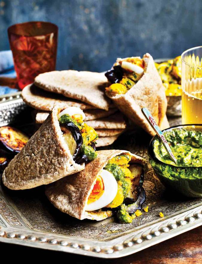 Recipe: Aubergine, spiced potato and zhoug pitta