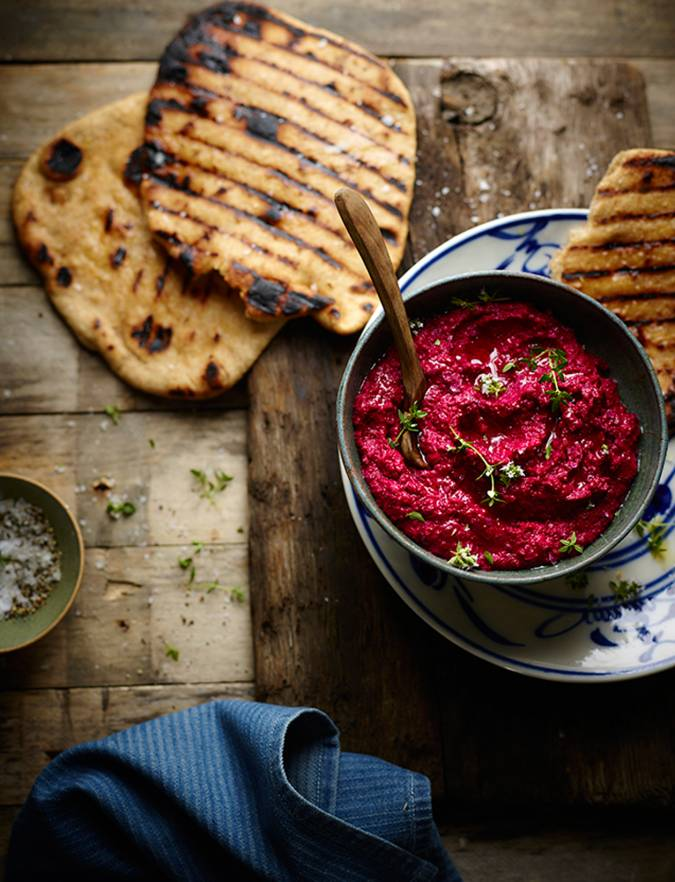 Recipe: Salt-baked beetroot houmous with spelt flat breads