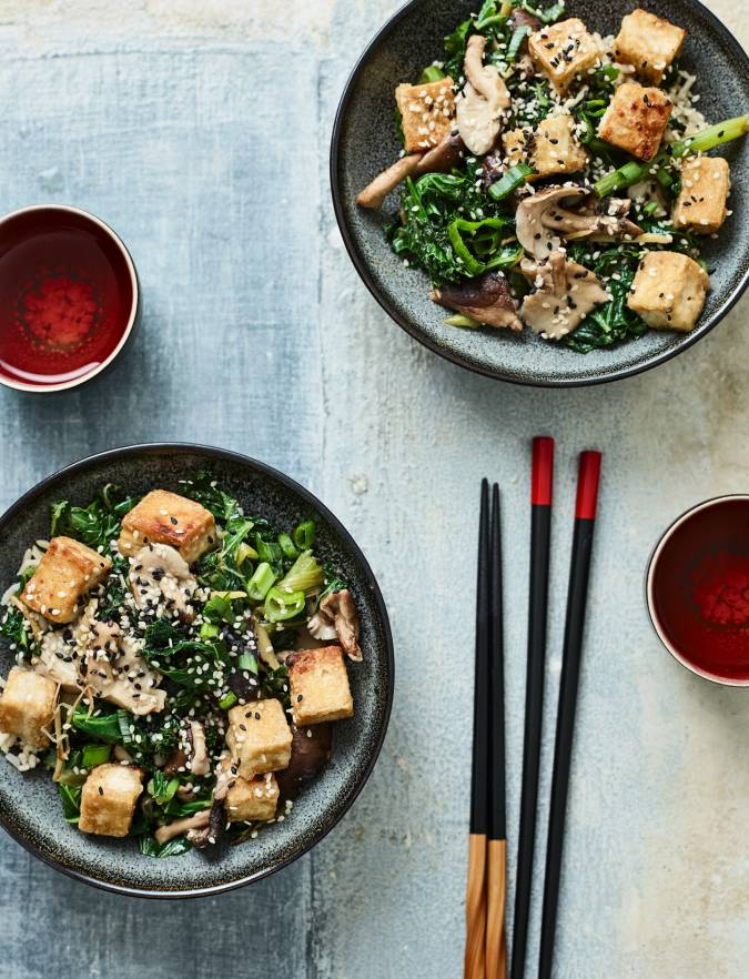 Recipe: Crispy tofu with miso veg