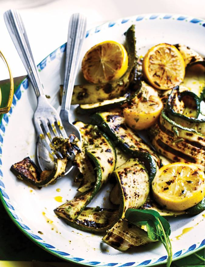 Recipe: Griddled courgettes with lemon and garlic