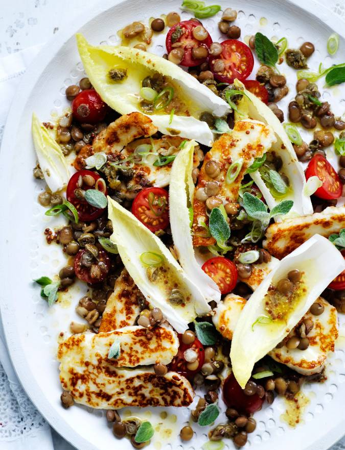 Recipe: Zingy lentil and halloumi salad