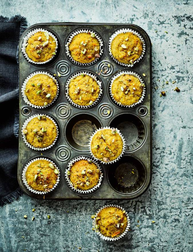 Recipe: Orange, pistachio and polenta drizzle cakes