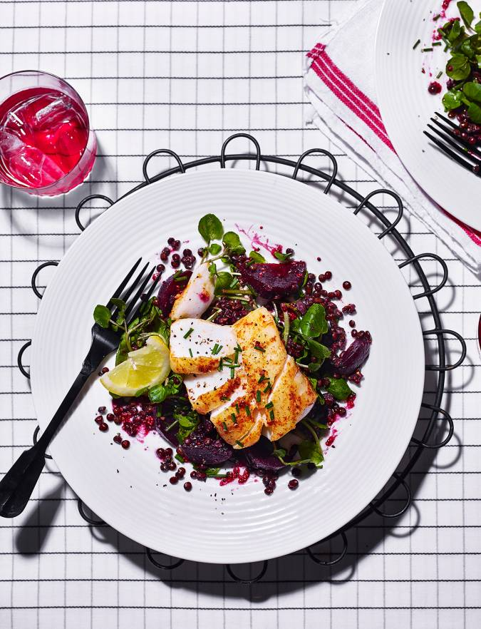Recipe: Cod loin with beetroot and lentil salad