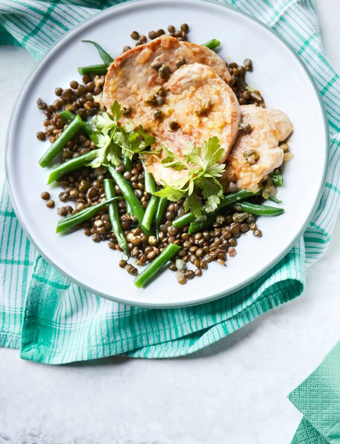 Recipe: Pork with caper lemon sauce and green bean lentils