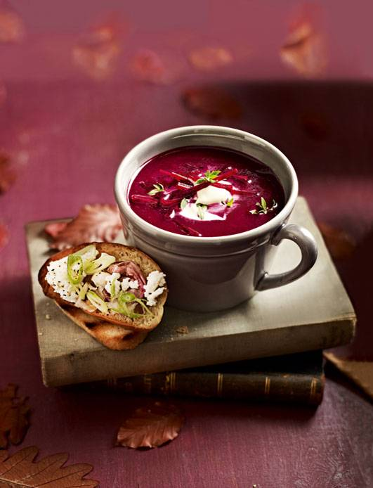 Recipe: Beetroot soup with crème fraîche and feta toasts