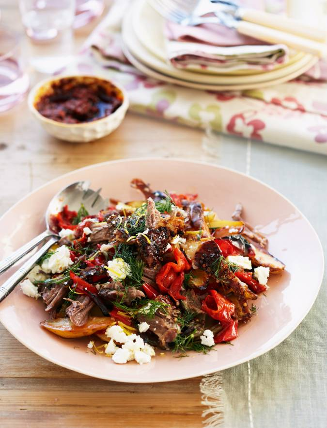 Recipe: Slow-roast lamb with feta, peppers and dill