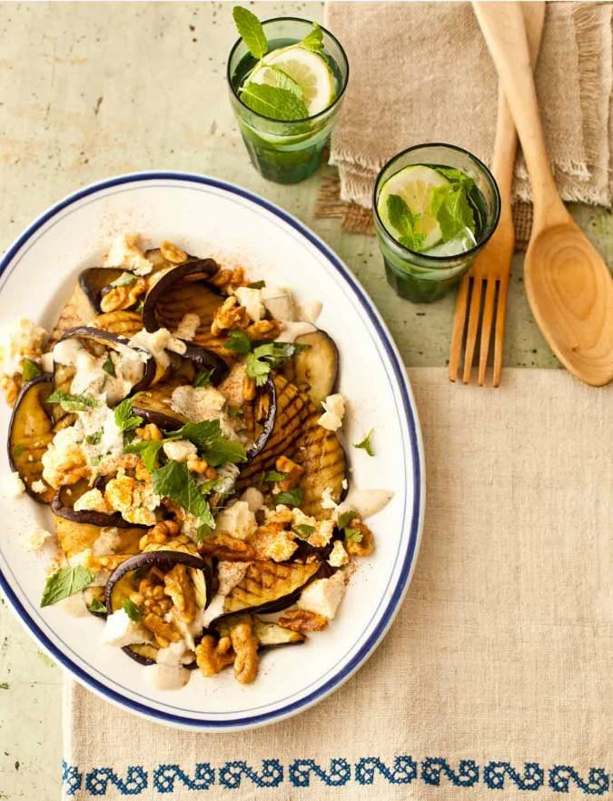 Recipe: Aubergine with Lancashire cheese, walnuts & yogurt