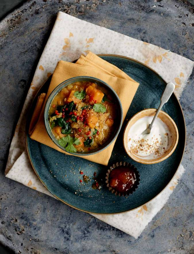 Recipe: Dukkah sweet potato and spinach dhal