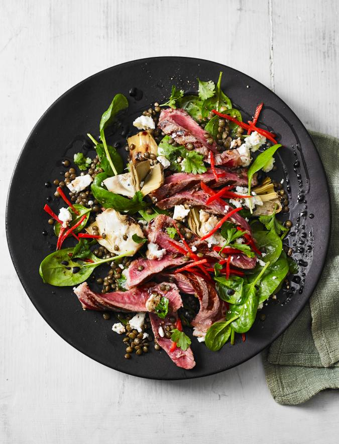 Recipe: Puy lentils with steak and feta