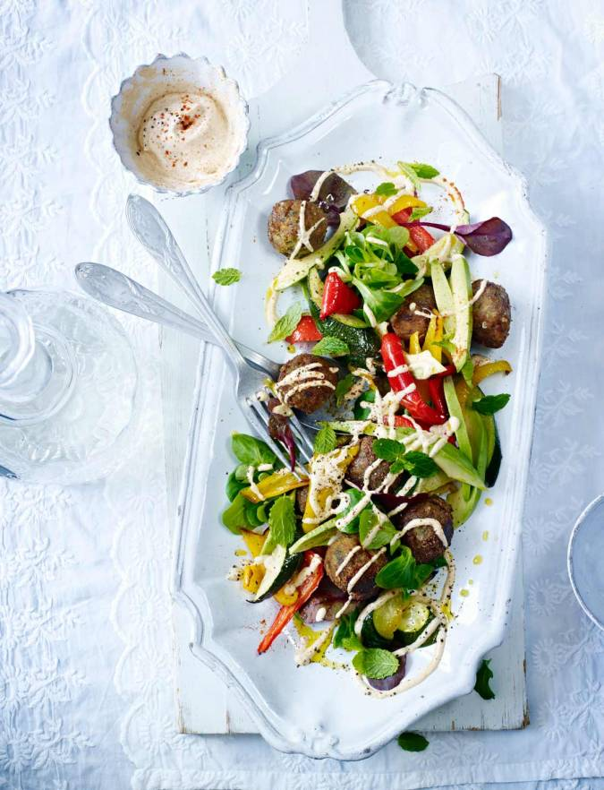 Recipe: Falafel with avocado, roasted vegetables and tahini dressing