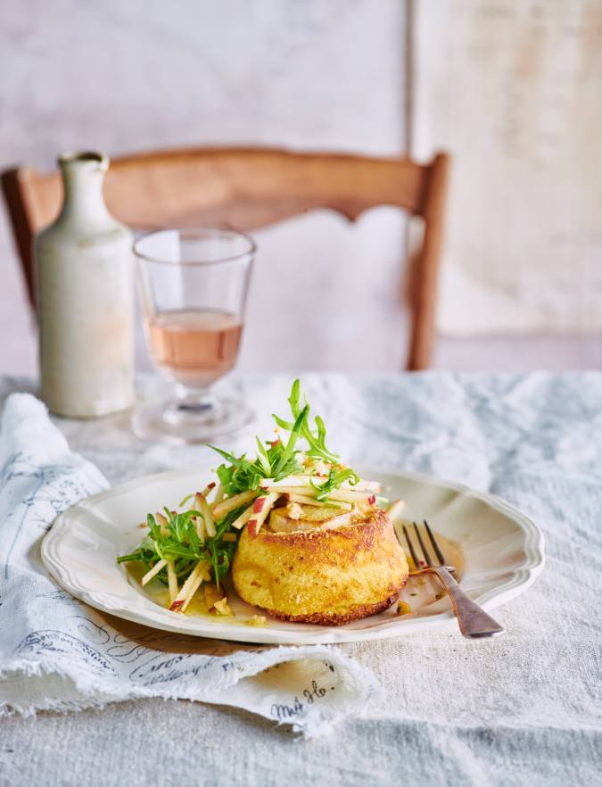 Recipe: Twice-cooked goats' cheese soufflés with apple and walnut salad