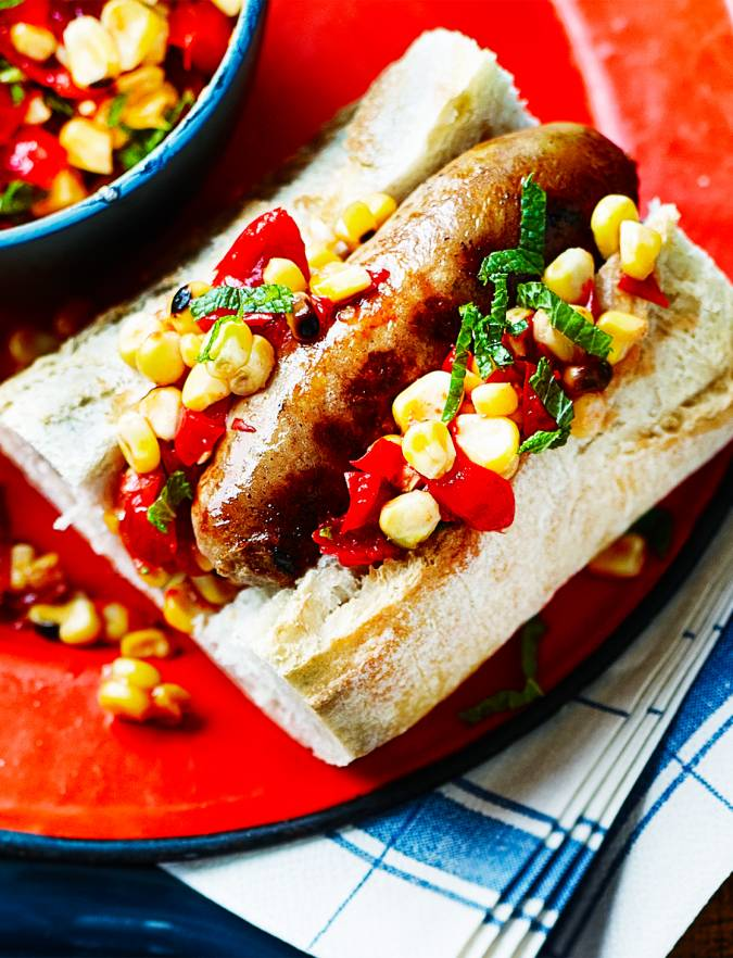 Recipe: Sausages with spicy charred corn salsa