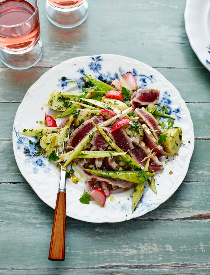 Recipe: Warm pickled veg with seared tuna and herbs