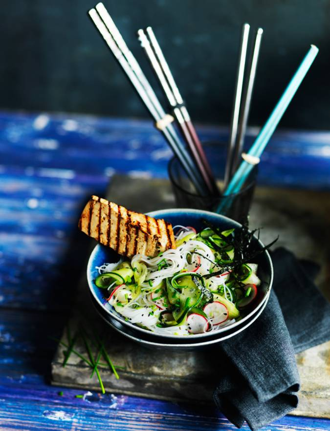 Recipe: 'Quick pickled' rice noodle salad with soy-glazed griddled tofu