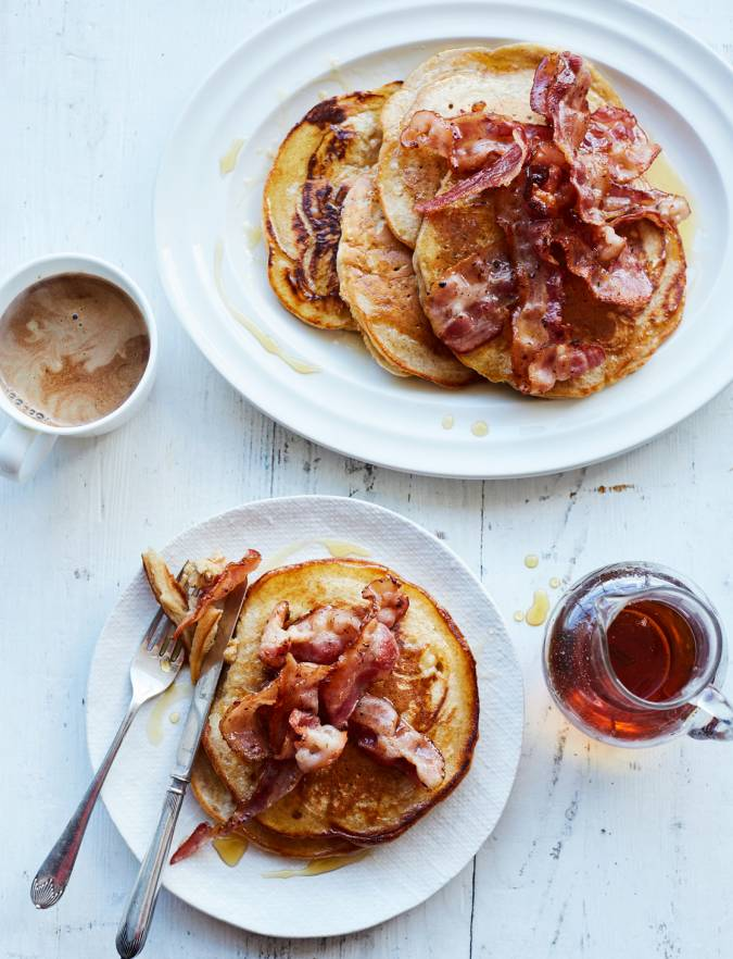 Recipe: Buttermilk cinnamon pancakes with crispy bacon