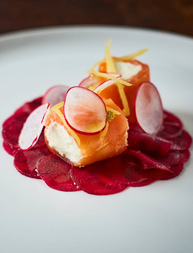 Recipe: Smoked salmon with goats' cheese, lemon mousse and beetroot carpaccio