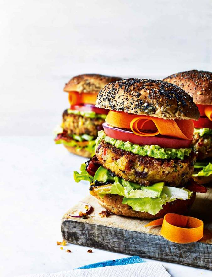Recipe: Stacked sweet potato burgers with avocado lime cream