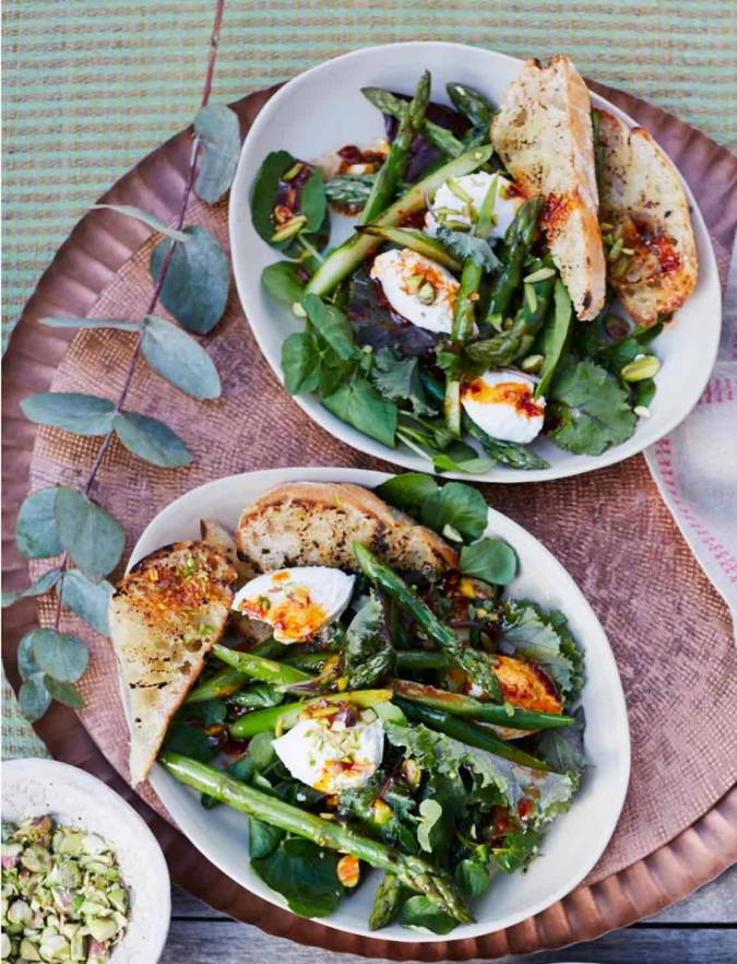 Recipe: Chargrilled asparagus, pistachio and ricotta salad