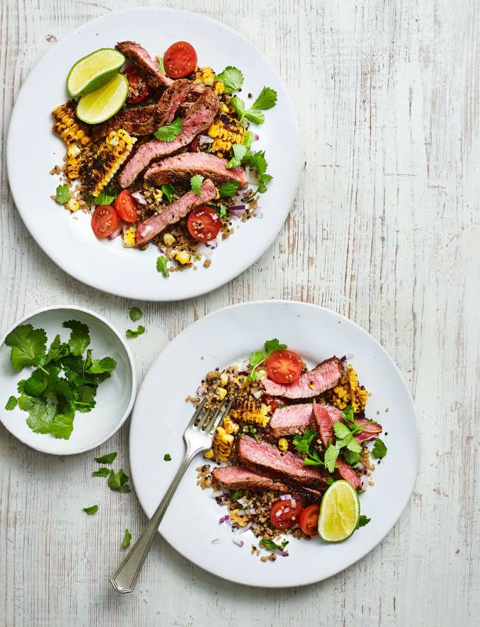 Recipe: Steak with Cajun grilled corn salad