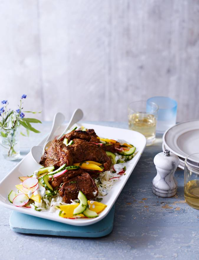 Recipe: Indian-spiced lamb chops with mango and cucumber salad