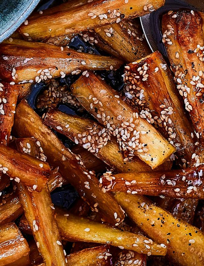 Recipe: Maple and sesame parsnips