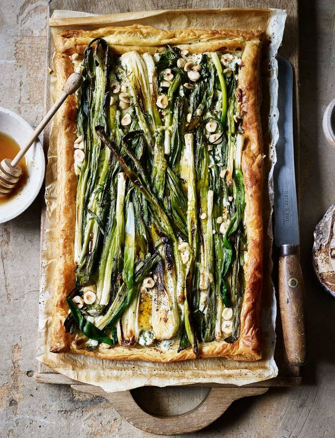 Recipe: Charred spring onion and ricotta tart