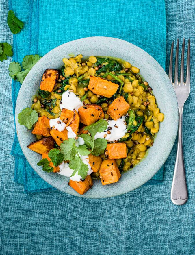 Recipe: Spinach and split pea dhal with roasted sweet potato