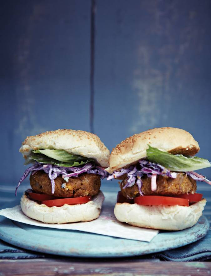 Recipe: Mile-high chickpea burgers with purple coleslaw