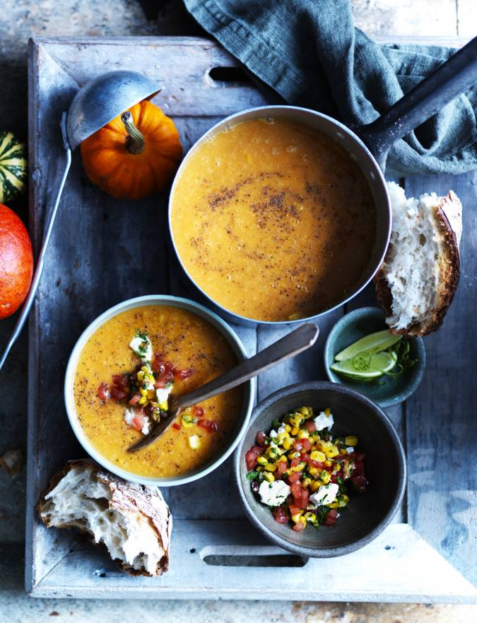 Recipe: Pumpkin soup with tomato, corn and coriander salsa